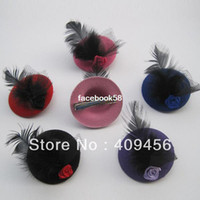 Solid mini hat hair clip - 2013 New Cute Fashion Girls Feather Hair Clip Kids Hair Accessories Fascinators And Mini Top Hats With Clip Tiaras