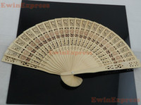 wood  antique wood carvings - 100pcs wooden chinese hand fan flowers carvings folding fragrance wood fans chinese dance fan wedding party gifts
