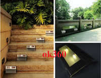 IP65 Garden  2 LED Solar power staircase light stainless Stair step lamps 2 led wall street lights outdoor Garden led lamp