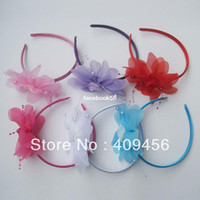 Headwear Floral Children Free shipping wholesale candy color flower hair bands children fashionable hair accessories girls headband hair hoops 24pcs lot