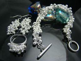 Wholesale Silver Grape Group Bracelet amp Earing amp Ring set Xmas gift Fashion Jewelry