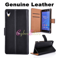 Wholesale Sony Xperia Z2 Case High Quality Real Genuine Wallet leather Case Cover With Credit Card Slot Stand Holder For Sony Xperia Z2 D6503 L50w
