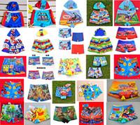 Boy One-piece S-M-L-XL Hot 25 Design Baby Boys Cartoon Animals Kids Swim Trunks Plus Swimming hat Swimwear Children Sandy Beach BIKINI 50pcs lot