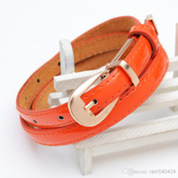 Wholesale Fashion Office Lady Casual Patent Leather Cowskin Adult Womens Orange Black White Candy Colors Waist Belt