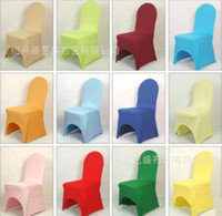 Spandex / Polyester white wedding chairs - Fashion Hot Universal White spandex Wedding Party chair covers White spandex lycra chair cover for Wedding Party Banquet many color