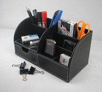 Wholesale 5 slot wood leather multi function desk stationery organizer pen pencil holder storage box case container black A259