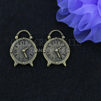 antique brass clock - set of alarm clock cute charms antique bronze brass zinc alloy pendents drops DIY for Jewelry Making mm AY0306