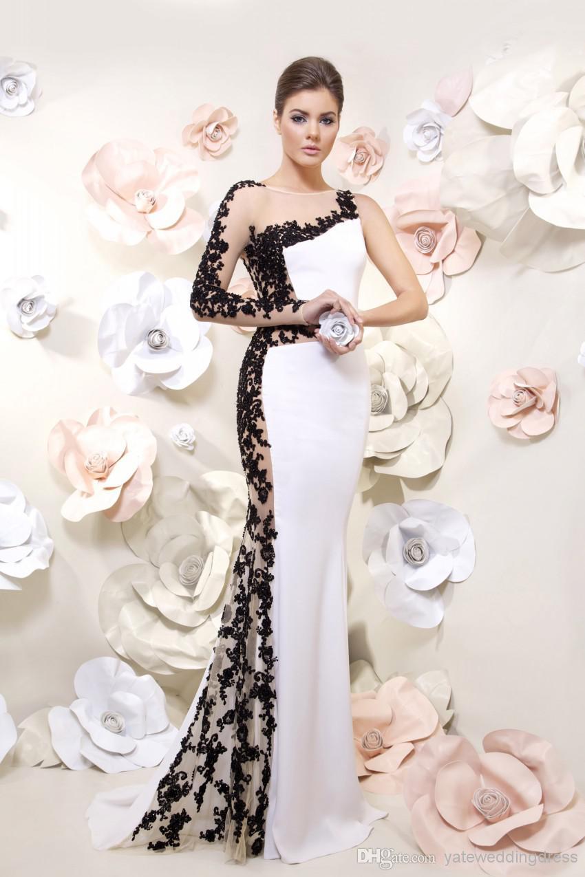 Платья вечерние черно белые
