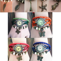 Wholesale Cheap Price Mix Leather Watch Weave Wrap Around Retro Bracelet leaf butterfly wing tower owl Lady Woman s Wrist Watch