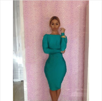 Casual Dresses plus size club dresses - Spring New Arrive Casual Dress Long Sleeve Backless Color Sexy Women Clothing Bodycon Club Bandage Dress CD060 Plus Size