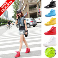Wholesale New elevator skateboard shoes men and women ankle boot hip hop dance flats candy neon color japanned leather casual sneakers