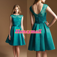 Reference Images Crew Satin Boat Low Back Teal Knee Length Satin A-line Lace Illusion Neckline Cap Sleeve 2014 Bridesmaid Short Prom Dresses Free Shipping New Fashion