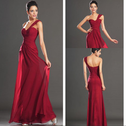 High Quality-2014 One-Shoulder A-Line With Pleates Floor-Length Backless Actual Image Burgundy Chiffon Bridesmaid Prom Dress