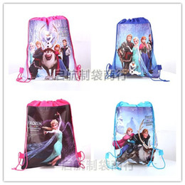 Wholesale Hot sale Frozen bags Anna Elsa peppa pig Children s Cartoon backpack drawstring bags kid s shopping bag toy present bag