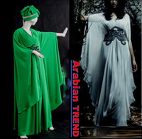 Model Pictures V-Neck Chiffon 2014 Prom Dresses New Hot Green Arabic Kaftan Evening Dress With Long Sleeves Chiffon Abaya Dubai Evening Gowns