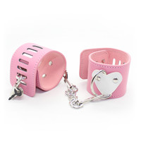 adult decorations - Kawaii Pink pu leather wrist cuffs and ankle cuffs with heart shaped decoration bondage cuff sex toy fetish gear adult novelty