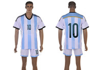 Soccer Short Cotton 2014 World Cup Argentina Jerseys #10 MESSI Blue White Strape Mens Soccer Sets Cheap Sports Uniform High Quality Outdoor Apparel