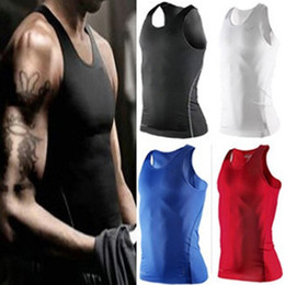 Wholesale S XXL Men Body Compression Base Layer Sleeveless Sport Vest Thermal Under Top Tees Tank Tops High Flexibility
