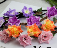 Wholesale New Arrival Bohemian Women Flowers Hair Accessories Beach Wedding Floral Garland Headbands Girl Kniting Flower Leaf Hairbands H0378