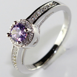 Wholesale New Arrive Purple Classic Elegance CZ Diamonds Beautiful Sterling Silver Rings Endless Love Ring Wedding Rings Fashion Jewelry