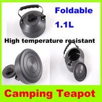 1.1 L tetera Portable tetera café Pot Outdoor Camping senderismo aluminio aleación botella de agua cocina supervivencia hervidor de agua vajilla tetera H