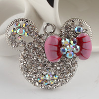 Wholesale New Lovely Minnie Mouse Head with Bowknot Chunky Rhinestone Pendant DIY Chunky Necklace Pendant Chunky Pendant Pendant