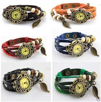 Wholesale 10PCS Retro Quartz Weave Wrap Around Leather Bracelet Bangle Womens Tree Leaf Women Girls LADIES Wrist Watch FREE SHIP