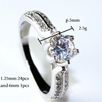 genuine diamond jewelry - Genuine Sterling Silver Top Quality Gifts New CZ Simulated Diamonds Engagement Rings Sweet Heart Jewelry Platinum Plated