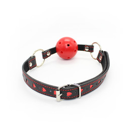 Wholesale Yeas Black high quality breathable ball gag with heart pattern bondage gags sex toy fetish gear adult novelty freeshipping