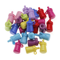 Glass Fashion Beads 50 Pieces Lot Beautiful Mixed Color Acrylic Feeding Bottle Shaped Beads
