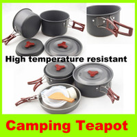 Wholesale Cookware set for Picnic person High temperature resistant Outdoor camping Pot Bowl Pan kettle hiking Kitchen Aluminum portable pot H