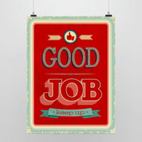 Wholesale Light Art Picture Saying Good Job Red Artwork Vintage Pop Poster Print Motivational Wall Quotes Office Decor Custom DIY Gift Canvas Painting