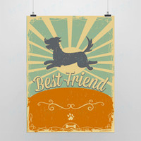 One Panel Digital printing Fashion Light Art Picture Saying Best Friend Original Modern Friendship Animal Dog Vintage Retro Pop A4 Poster Print Wall Quotes DIY Canvas Painting