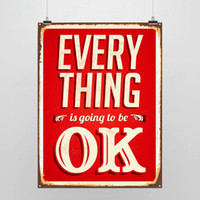 Wholesale Light Art Picture Saying Everything OK Original Red Custom DIY Pop Motivational Vintage Retro Poster Print Wall Quotes Decor Canvas Painting