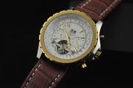 Wholesale La Famosa Marca De Lujo Macho De Oro De Plata De Los Hombres Mecánicos Automáticos Relojes Tourbillon Caras Blancas De Cuero Genuino Fecha Casual Mens Relojes Vestido