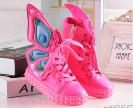 Wholesale The new Korean version children s canvas shoes boys butterfly wings shoes girls high top sneakers