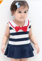 Girl Summer 100% Cotton 2014 Spring And Summer Children Baby Girls Lovely Navy Style Suspender Jumpsuits Kids Leisure Bow Tie Lapel Striped Sleeveless Romper I0359