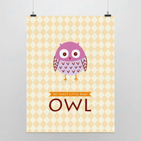 One Panel Digital printing Fashion Light Art Picture Saying Owl Modern Cute Lovely Animal Original Typography Poster Print Kids Room Wall Decor Custom DIY Gift Canvas Painting