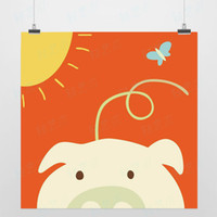 One Panel Digital printing Fashion Light Art Nature Animals Dream Pig Colorful Cute Picture Modern Minimalist Poster Print Custom DIY Gift Kids Room Wall Decor Canvas Painting