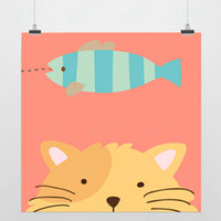 One Panel Digital printing Fashion Light Art Nature Animals Dream Cat Fish Colorful Cute Picture Modern Minimalist Poster Print Custom DIY Gift Kids Wall Decor Canvas Painting