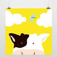 One Panel Digital printing Fashion Light Art Nature Animals Dream Milk Cow Colorful Cute Picture Modern Minimalist Poster Print Custom DIY Gift Kids Wall Decor Canvas Painting