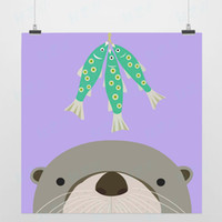 One Panel Digital printing Fashion Light Art Nature Animals Dream Sea Lion Colorful Cute Picture Modern Minimalist Poster Print Custom DIY Gift Kids Wall Decor Canvas Painting