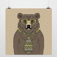 One Panel Digital printing Fashion Light Art Nature Fashion Animals 1 Mr Bear Modern Handpainted Picture Pop Vintage Retro Poster Prints Wall Decor Custom DIY Canvas Paintings