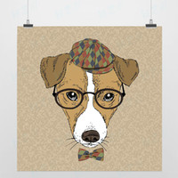 One Panel Digital printing Fashion Light Art Nature Cool Animals 1 Beagle Dog Modern Fashion Handpainted Picture Pop Vintage Retro Poster Print Wall Custom DIY Canvas Painting