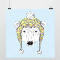 One Panel Digital printing Fashion Light Art Nature Cool Animals 2 Pole Bear Girl Modern Fashion Handpainted Picture Pop Vintage Poster Prints Wall Custom DIY Canvas Paintings