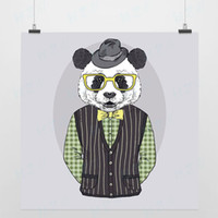 One Panel Digital printing Fashion Light Art Nature Fashion Animal 3 Panda Modern Handpainted Picture Pop Vintage Retro Poster Print Wall Decor Custom DIY Gift Canvas Painting