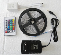 Wholesale New RGB M Leds Waterproof Flexible Led Light Strips Keys IR Remote Controller V A Power Adapter With EU US Plug CW0124