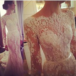 Wholesale 2014 Lace Long Sleeve A Line Wedding Dresses Illusion Steven Khalil Transparent high neck Beaded Court Train Bridal Dresses