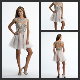 Wholesale DN Dave And John Famous Design Graduation Gowns With Corset A Line Short Tulle Sequined Crystal Crew Capped Sleeves Homecoming Dresses th