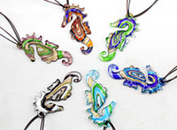 Cheap Wholesale Colorful Fashion Handmade Italian Gold dust sea horse Bead Lampwork murano glass pendant necklace jewelry